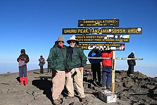 Picture of me and Don Short on the top of Mt. Kilimanjaro and was taken on September 30, 2004